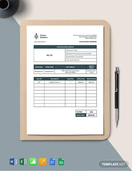 construction job invoice template