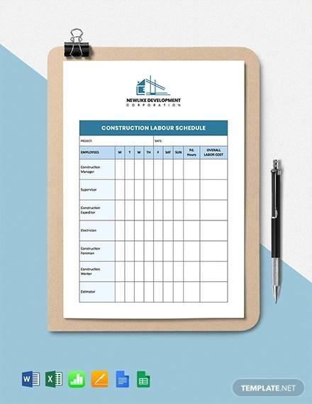 construction labour schedule template