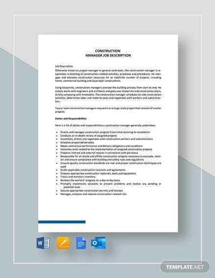 free 9 construction management job description samples in. Black Bedroom Furniture Sets. Home Design Ideas