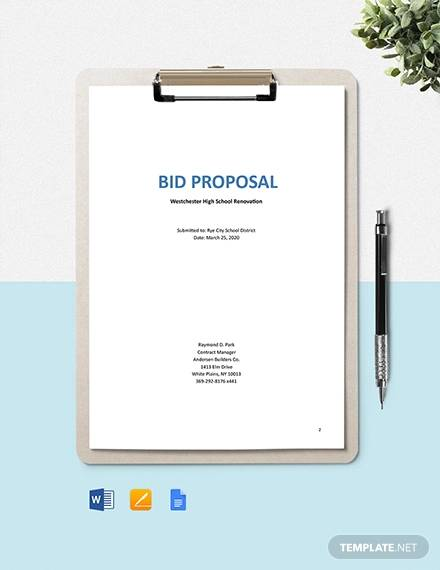 construction project bid proposal template1