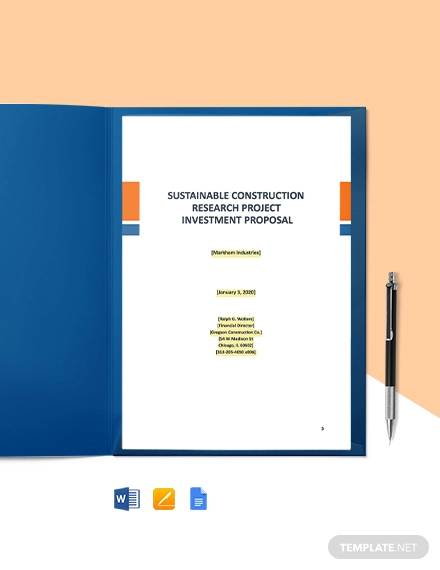construction project investment proposal template