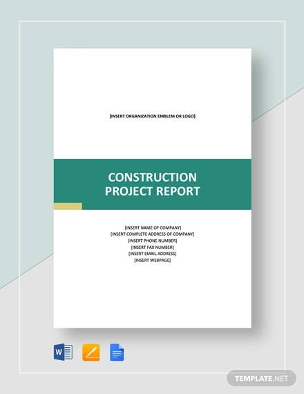 construction project report template
