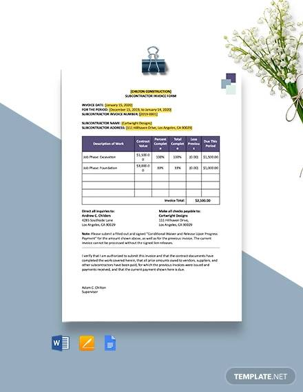 construction subcontractor invoice template