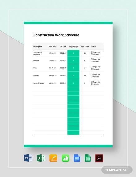 construction work schedule template