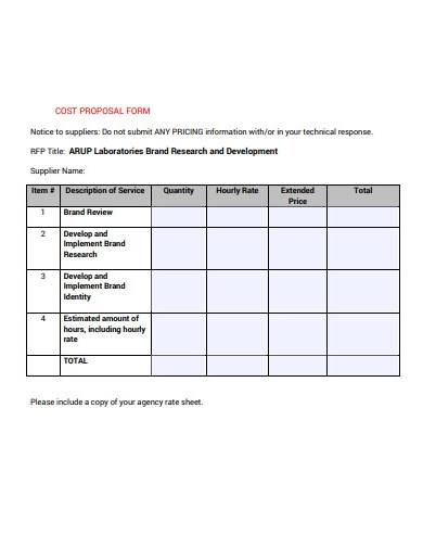 cost proposal form example