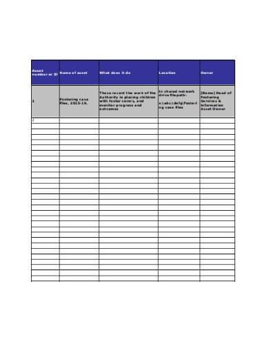 department asset tracking template
