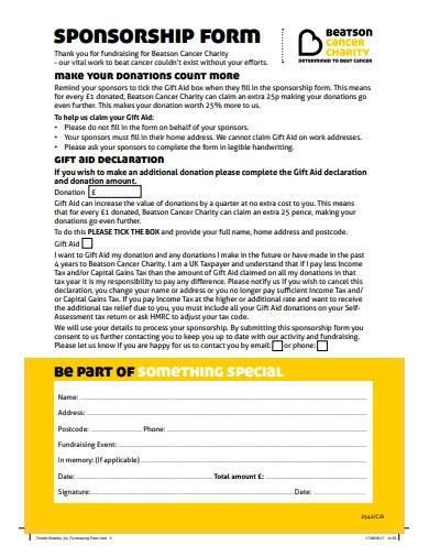 donation sponsorship form sample