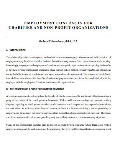employment contracts for charities