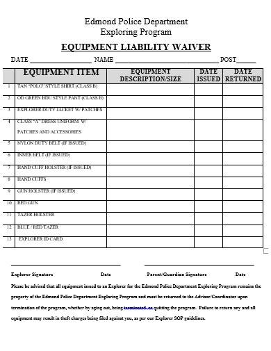 equipment waiver liability form