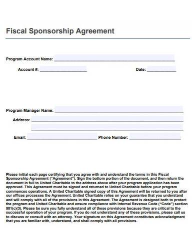 fiscal sponsorship agreement template