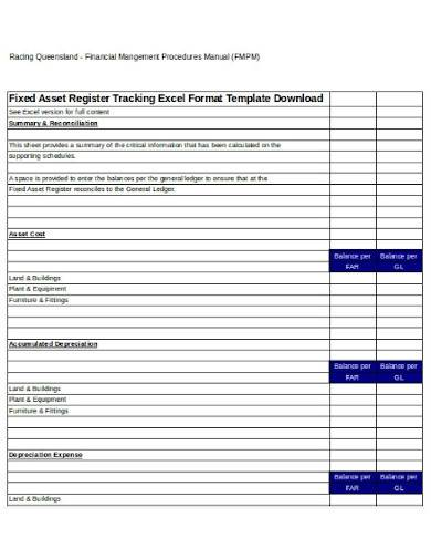 fixed asset register tracking in excel