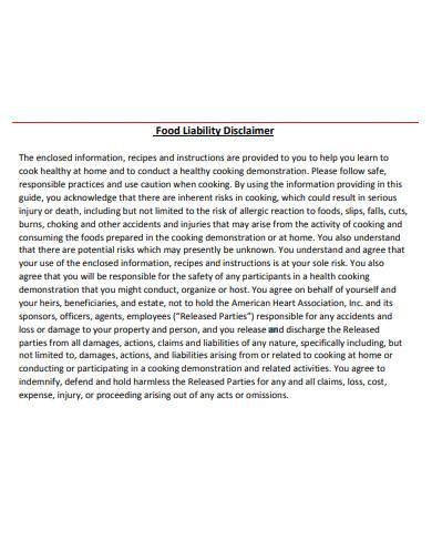 food liability disclaimer template1