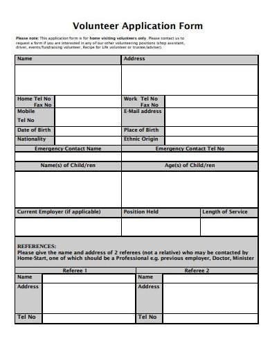 format of charity volunteer application form