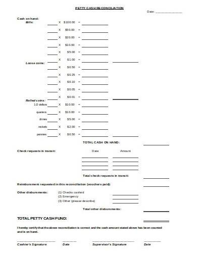 format of petty cash reconciliation