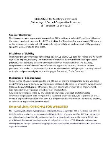format of product liability disclaimer