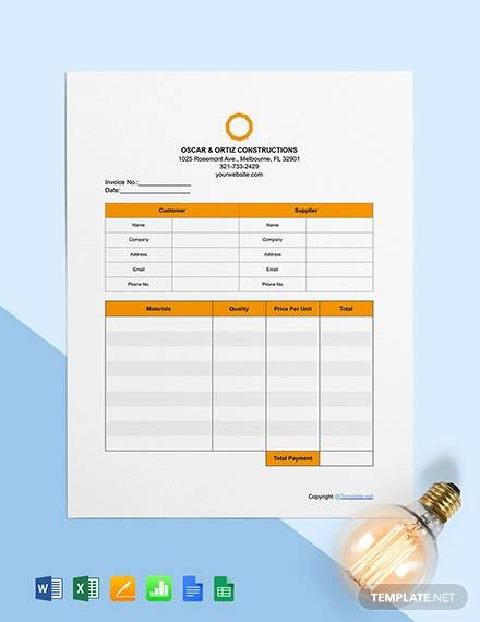 free basic construction invoice template