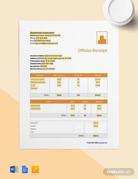 free basic construction receipt template