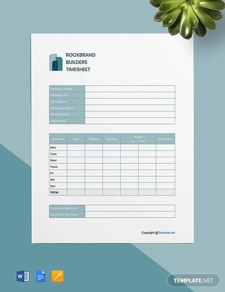 free blank construction timesheet template