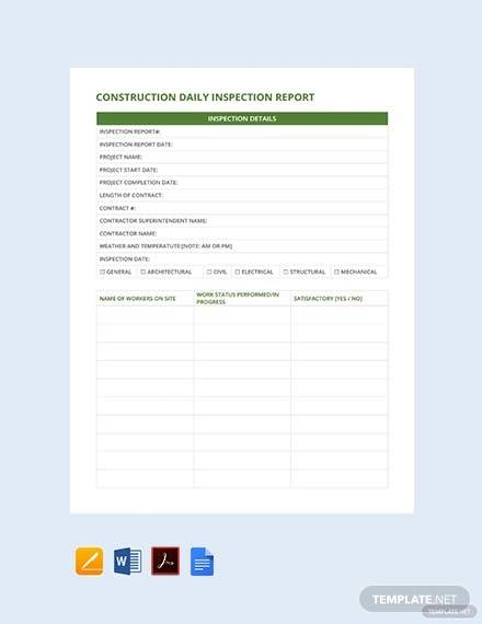 free construction daily inspection report template