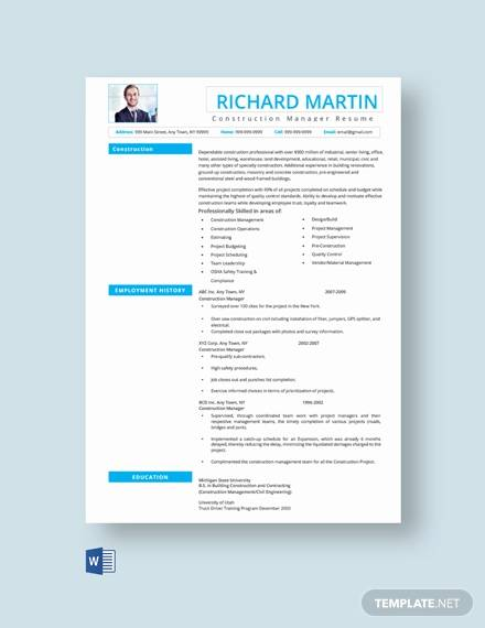 free construction manager resume template