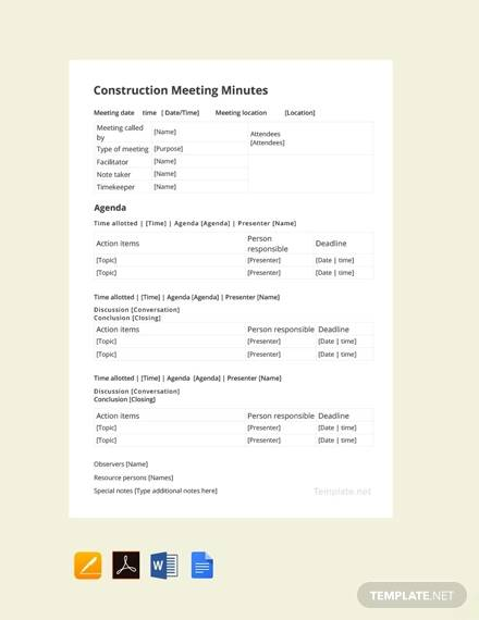 free construction meeting minutes template