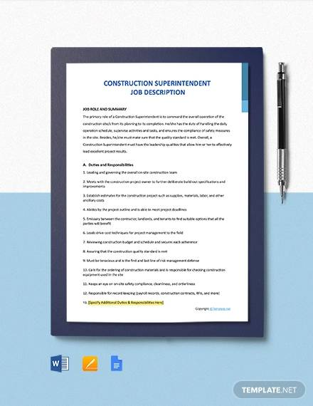 free construction superintendent job description template