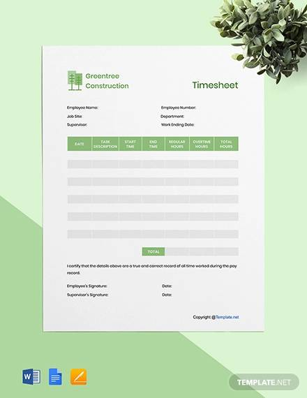 free editable construction timesheet template