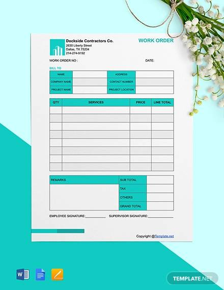 free editable construction work order template