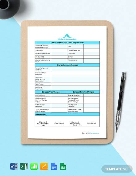 free sample construction change order template1