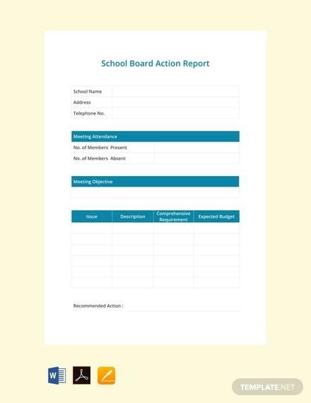 free school board report template