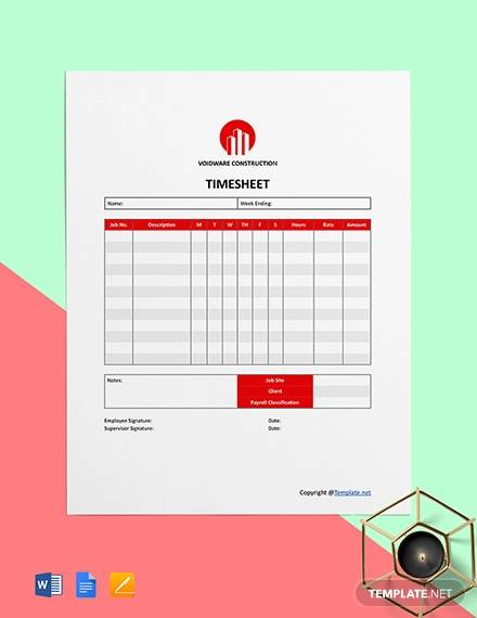 free simple construction timesheet template