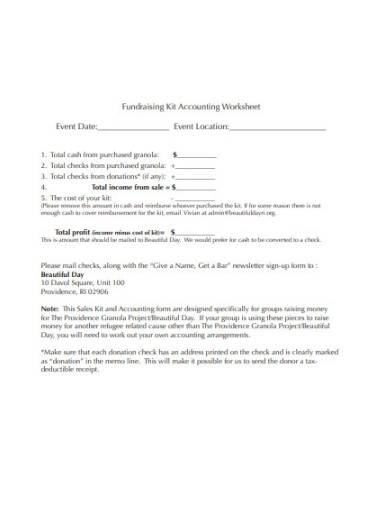 fundraising accounting worksheet template