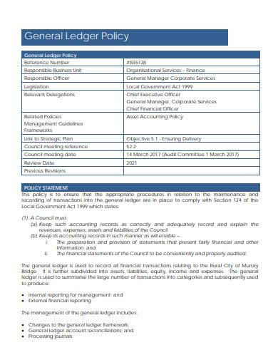 general ledger policy