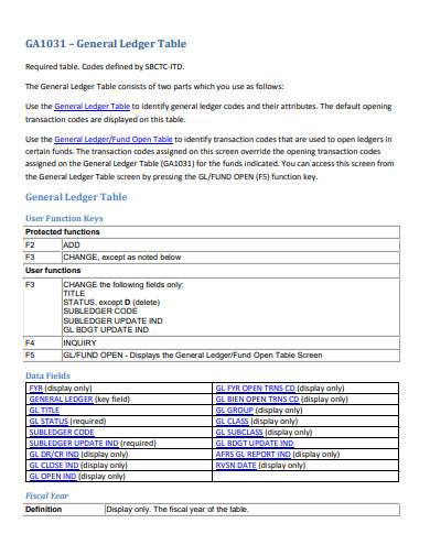 general ledger table template