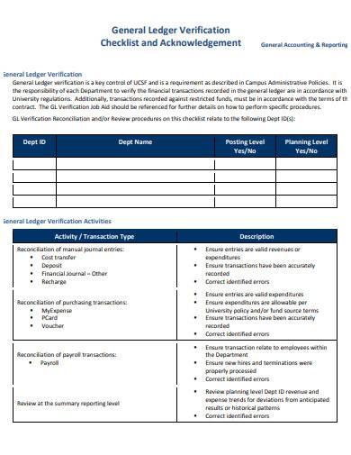 general ledger verification checklist