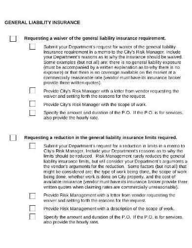 general liability insurance checklist