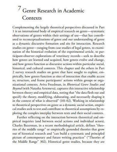 genre research academic report