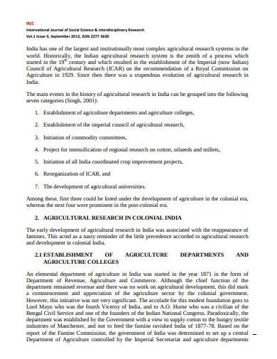 international agricultural research template