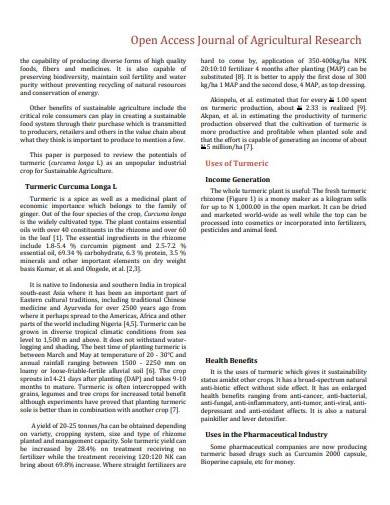journal agricultural research template