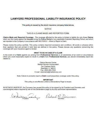 lawyers professional liability insurance policy