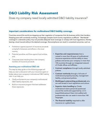 liability risk assessment template