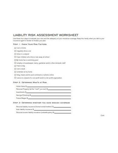 liability risk assessment worksheet