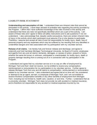 liability risk statement template