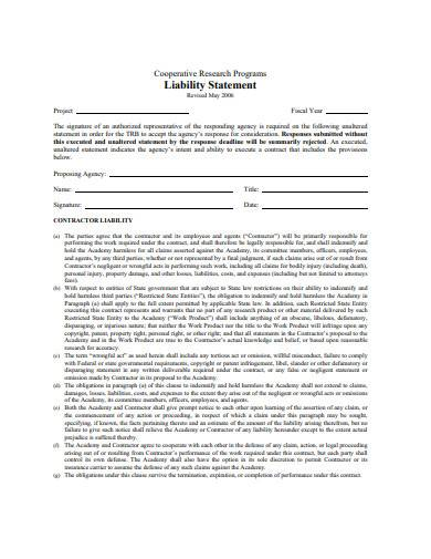 liability statement template