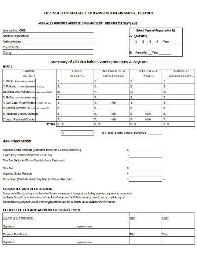 licensed charitable financial report