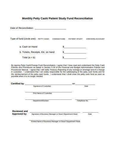 monthly petty cash reconciliation sample