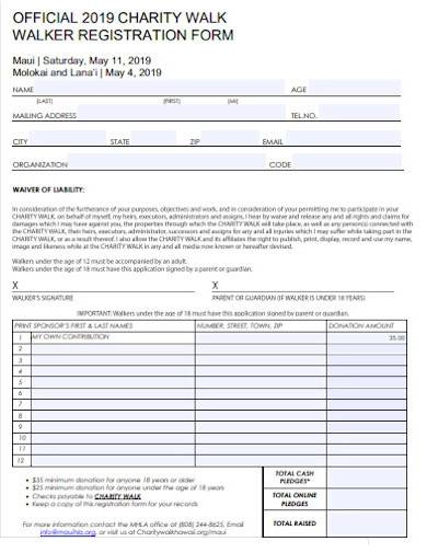 official charity walk registration form