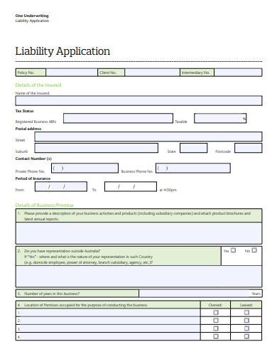one underwriting liability application