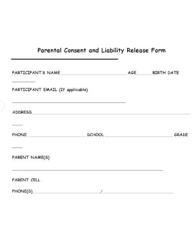 parental consent and liability release form