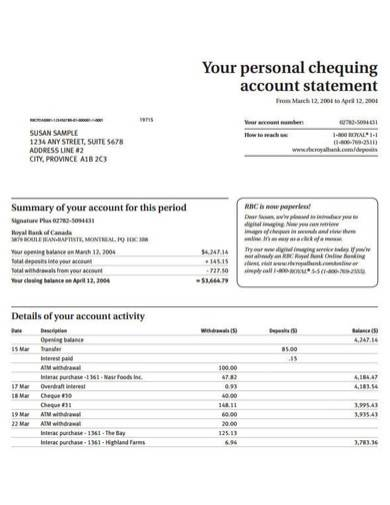 personal account statement template